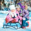 Two little sisters on a sled — Stock Photo #40542097
