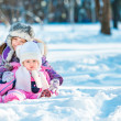 Sisters in the winter forest — Stock Photo #40542123