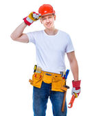 Handsome worker in a helmet o — Stock Photo