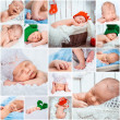 Newborn babies photos set — Stock Photo