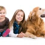 ευτυχισμένη κοριτσάκι με το σκύλο — Φωτογραφία Αρχείου