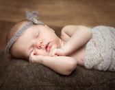 Pretty  newborn girl sleeping on a cot — Stock Photo