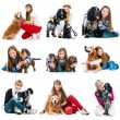 Set photos of people with their dogs — Stock fotografie #43328411