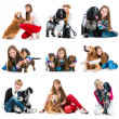 Set photos of people with their dogs — Stock Photo