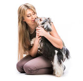 Woman with her dog Yorkshire Terrier — Stock Photo