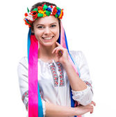 Young woman  in the national Ukrainian costume — Stock Photo
