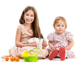 Little girls and rabbit — Stock Photo