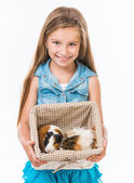 Girl with cavies — Stock Photo