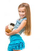 Girl with cavy — Stock Photo