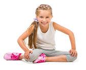Girl doing exercises — Stock Photo