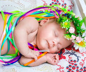 Newborn girl sleeping — Stock Photo