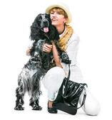 Donna con cocker spaniel — Foto Stock