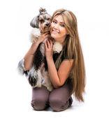Kadın ile köpek — Stok fotoğraf