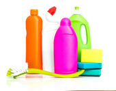 Cleaning supplies and sponges — Stock Photo