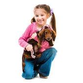 Kız köpekle — Stok fotoğraf
