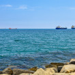 Cargo ships on horizon - Stock Photo
