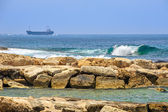Cargo ships on horizon — Stock Photo