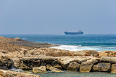 Sea coast and cargo ships — Stock Photo