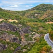 Road between Meteora rocks — Stock Photo