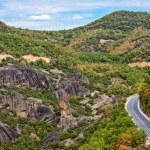 Road between Meteora rocks — Stock Photo