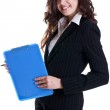 Young business woman with business card — Stock Photo #1912547