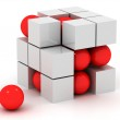 White cube and red sphere — Stock Photo #24738863