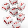 Sale cubes with percent discount — Stock Photo