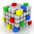 Stock Photo: Cube assembling from blocks