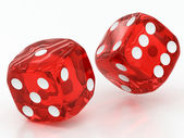 Two red dices falling — Foto Stock