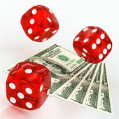 Dollars and dice — Stock Photo