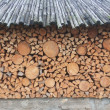 Storing firewood storage for firewood — Stock Photo