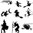 Halloween witches — Stock Vector