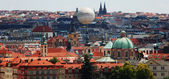 View of Prague, old town, red tile of Prague roofs — Stock Photo