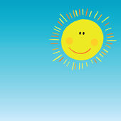 Abstract smiling sun on blue sky — Stock Vector