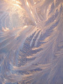 Ice pattern and sunlight on winter glass — Stock Photo