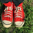 Vintage red sneakers — Stock Photo