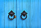 Blue wooden door with round handles — Stock Photo