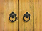 Wooden door with round handles — Stock Photo