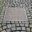 Stock Photo: Paving stones with metal manhole