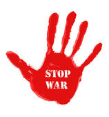 Red handprint with the word ''Stop war'' — Stockfoto