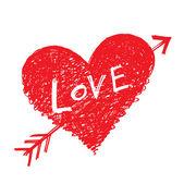 """Vector heart pierced by an arrow with word """"Love"""" — Stock Vector"""