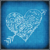 Blue grunge background with white abstract heart — Stock Photo