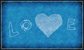 Word ''love'' with abstract heart on blue background — Foto de Stock