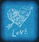 Blue grunge background with white abstract heart — Stok fotoğraf