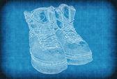 ビンテージ背景色が青い靴 — ストック写真