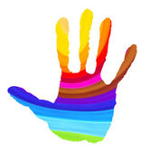 Bright color handprint on white — Stock Photo