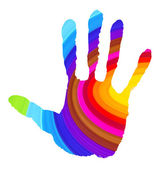 Abstract handprint in vibrant colors — Stock Photo