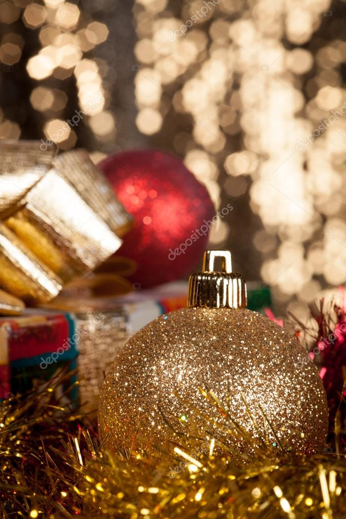 Christmas card with balls and presents — Stock Photo #14241029