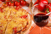 Pizza and wine — Stock Photo