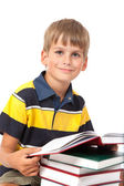 Schoolboy is sitting on books — Stock Photo